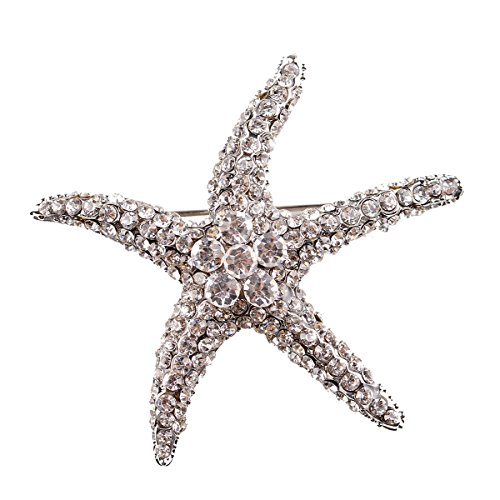 Reizteko Marine Animal Crystal Rhinestones Brooch Pin Fashion Girl Jewelry Sea Star Starfish Brooches Pins (Crystal) (Brooch Starfish Crystal)