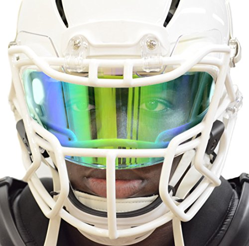 PRIZM Football Eye-Shield Facemask Visor by EliteTek - Universal Fits Youth & Adult Helmets (Green Emerald)