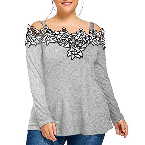 Blusen Manches Grau Femme Top Branch Printemps lgant Longues Brode Mode Style Unique paules Tops Nues Casual Chemise Pullover Fleurs Sling Spcial RqRrBw8St