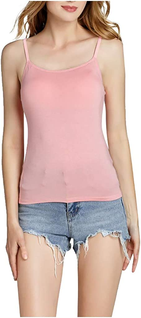 Supersoft Elastic Spaghetti Strap Cami with Chest Pad Vest Blouse Women Basic Modal Camisole Tank Top for Teen Girl