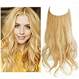 SARLA Hair Extension Halo Golden Blonde With Beach Blonde Highlight Curly Short Synthetic Hairpiece 12 Inch 3.5 Oz Hidden Wire Headband for Women Heat Resistant Fiber No Clip (M05&27H613)