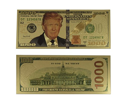 Authentic President Donald Trump Gold Plated Dollar Bill $1000 Presidential Collectible Bank Note by Lane Co