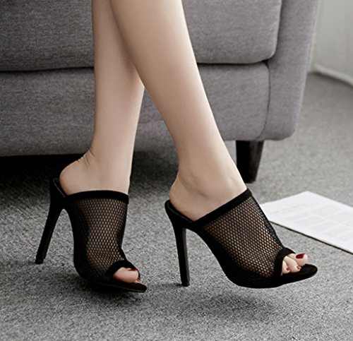 Pompe Toe Mesh Eu35 Sandales Flop Open À Chaussures Taille Simple Noir Kitzen Femmes Mariage Hauts Flip Mode De De Dames Talons q7xCcv
