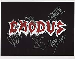 """Éxodo (banda) totalmente firmado 8""""x10"""" fotos + certificado de autenticación 100% auténtica"""