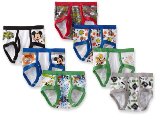 Disney Little Boys' Mickey 7 Pack Brief, Multi, 4T