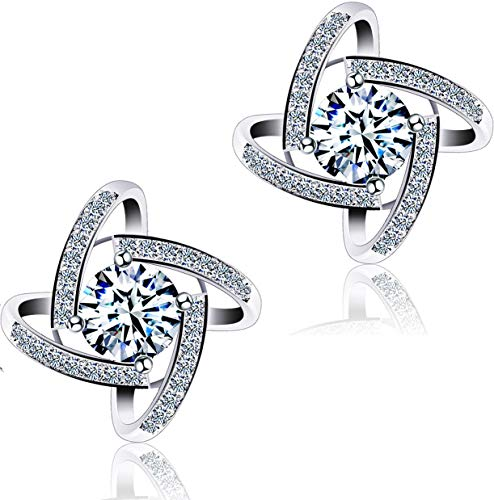 DASATA Women's White Sterling 925 Silver Stud Earrings For Party Wedding DFE0004 White