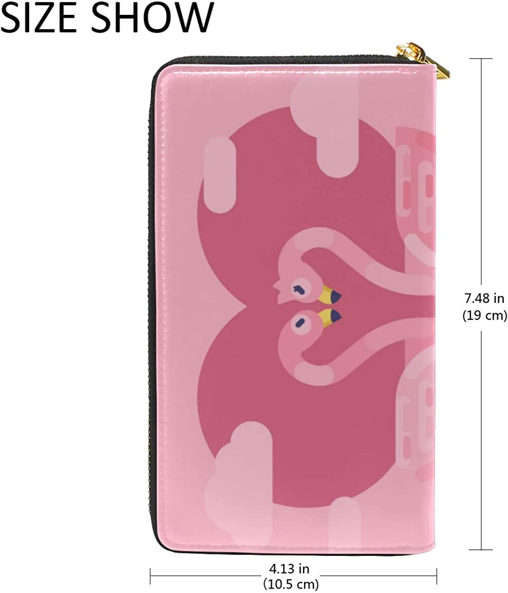 Art Pink Heart Flamingo Leather Womens Zipper Wallets Clutch Coin Case