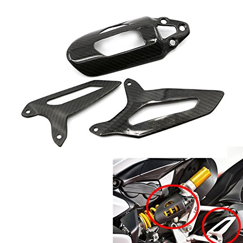 (Alpha Rider Carbon Fibre Rear Shock Heel Guard Absorber Rear Suspension Coil Spring Cover and Rear Peg Footrest Footpeg Decoration For Ducati 899 959 1199 Panigale 1299 1299S)