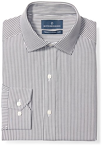 BUTTONED DOWN Men's Tailored Fit Spread-Collar Pattern Non-Iron Dress Shirt, Black Bengal Stripe, 17.5