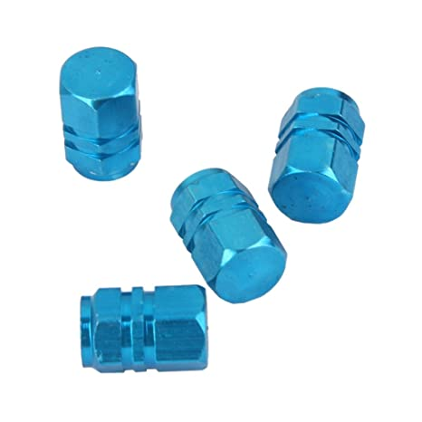 4X Aluminum Tire Wheel Rims Stem Air Valve Caps Protector Car Truck Bike Blue