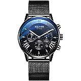 Wyenliz Men's Watch Sport Fashion Analog Quartz Watch with Date Stainless Steel Mesh Band Waterproof Wristwatch Business Casual Dress Gift Watch (Black)