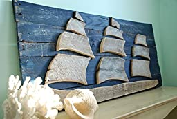 Ship Sailboat Sail Boat Wood Wall Art, Reclaimed Wood Ship, Sofa Art, Nautical Sign, Sailboat Art, Sailboat Decor, Wood Ship, Beach Decor