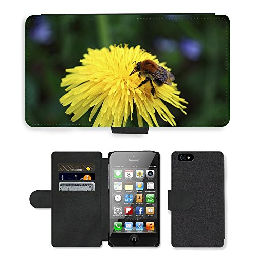 Just Phone Cases PU Leather Flip Custodia Protettiva Case Cover per // M00128422 Bee Flower Nectar insectes Fermer // Apple iPhone 4 4S 4G