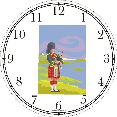 Scottish Bagpipe or Bag Pipe Player No.1 Scotland Theme Wall Clock by WatchBuddy Timepieces Hunter Green Frame