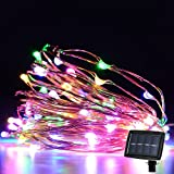 SW Solar Powered LED Starry String Lights, 2 Modes Steady on / Flash, Flexible Copper Wire, Waterproof Design for Christmas Wedding Home Indoor Outdoor Decorating (100 LED multicolor)