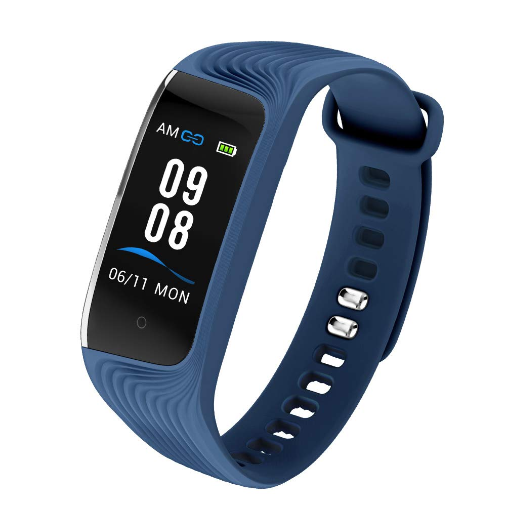 IP68 impermeable fitness Tracker, pantalla de color Activity Tracker con monitor de frecuencia cardíaca, monitoreo del sueño, contador de pasos, pulsera inteligente para niños mujeres hombres,Blue
