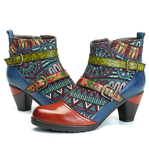 Socofy Leather Ankle Boots, Women's Leather Shoes Casual Oxford Boots Warm Booties with Bohemian Splicing Pattern Boots Ladies High Block Heel Leather Winter Boots Zipper Shoes Dress Wedding Boots Orange-red