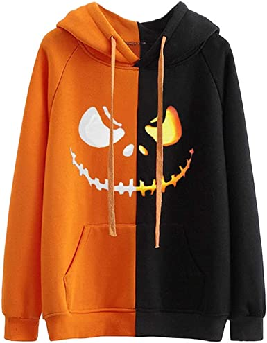 Halloween Shirts Hoodies for Women Scary Pumpkin Face Long Sleeve Slouchy Sweatshirts Fall Pullover Tops Hooded Clothes