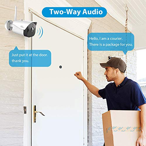 Outdoor Security Camera, NGTeco WiFi Home Security Camera, Wireless 1080P IP Camera with Motion Detection, Night Vision, Remote View, 2-Way Audio and Waterproof, Cloud/SD Storage