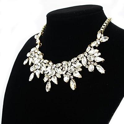 Fit&Wit Rhinestone Crystal Statement Fashion Necklace Chunky Jewelry Choker Collar for Women Girls