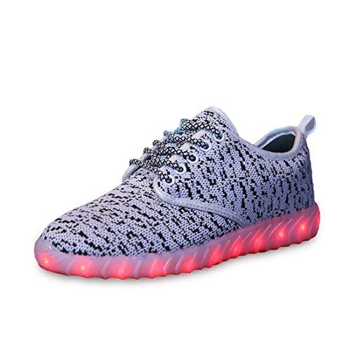 O & N 7 Colori Led Light Up Scarpe Da Corsa Paio Donna Uomo Bambini Sneakers Ricarica Usb Bianco