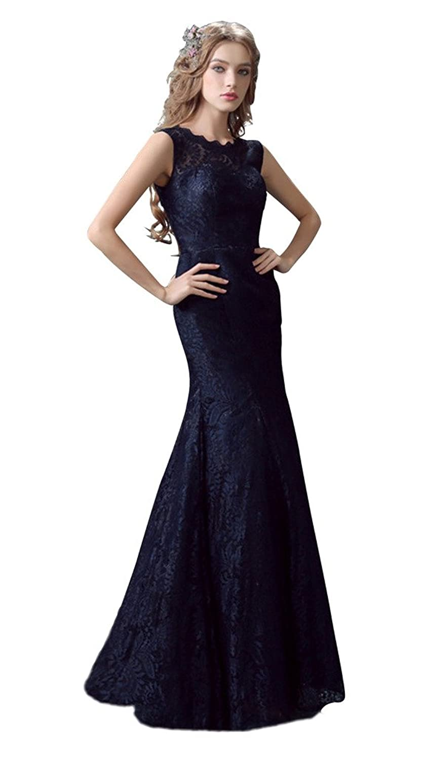 Vimans? Women's Floor Length Navy Scoop Lace Mermaid Bridal Wedding Dresses