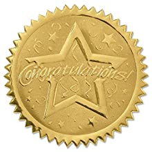 PaperDirect Congratulations Star Embossed Gold Certificate Seals, 102 Pack