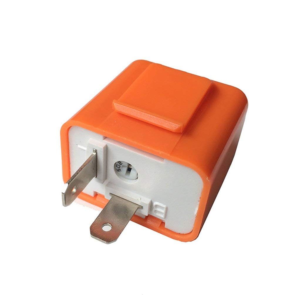 2 Pin Speed Adjustable LED Indicator Waterproof Flasher Relay Resistor Orange