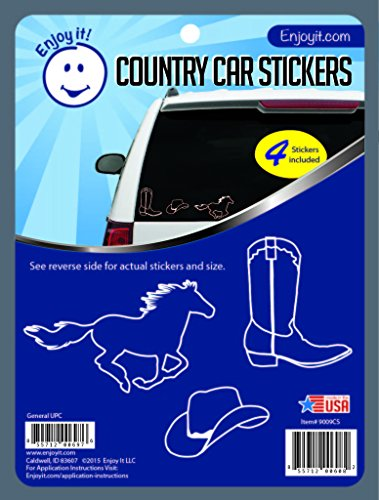 Enjoy It Country Car Stickers, 4 pieces, Outdoor Rated Vinyl Sticker Decals (Running Horses, Cowboy Hats, Cowboy Boots) for $<!--$5.95-->