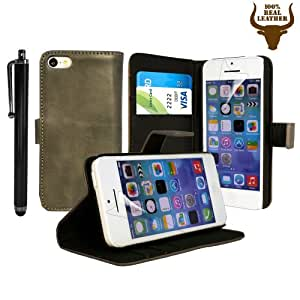 Stylish Protective 100% REAL GENUINE COW LEATHER FLIP CASE POUCH COVER CARD HOLDER WALLET FOR VARIOUS APPLE MOBILE PHONES + Includes STYLUS PEN + SCREEN PROTECTOR (APPLE IPHONE 5C, CHARCOLE GREY), [Importado de UK]