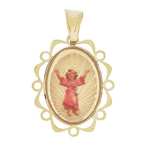 14k Yellow Gold, Mini Religious Pendant Charm Divine Child Infant Jesus Christ Oval