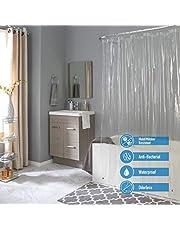 """Bath Bliss Waterproof Shower Curtain Liner, 4X's Splash Guard Suction Cup Leak Protection, 12 Rust Resistant Copper Grommets, 3 Large Magnet Hem, 100% PVC, 72"""" x 72"""", Clear"""