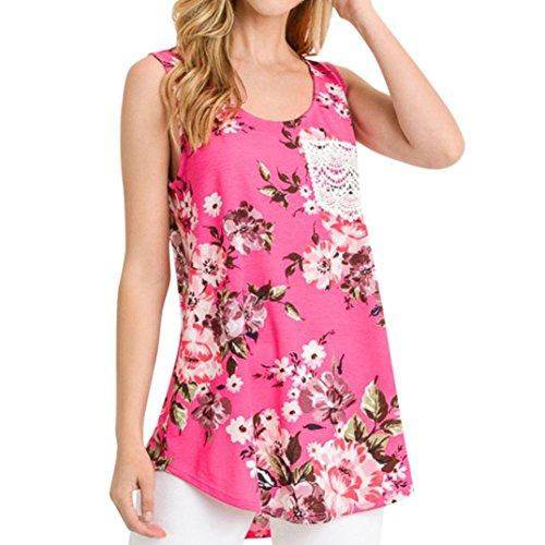 On Sale Clearance Women Tank Top Cuekondy Summer Casual Lace Pocket Floral Print Sleeveless Vest Blouse Shirt (Pink, XXL) by Cuekondy_Women Tank Tops