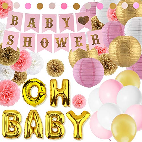Eurus Home Girl Baby Shower Decorations Kit |