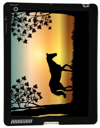 Rikki Knighte Horse Silhouette on Aqua Sunset Design Smart Case Ultra-thin with Magnetic support for Apple iPade 2/3/4 Gen