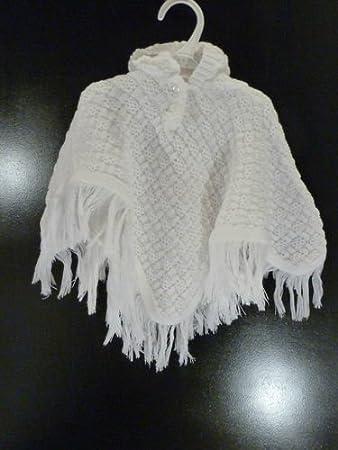 Con capucha para bebé bautizo chal diseño de ganchillo en color blanco blanco blanco Talla:recién nacido