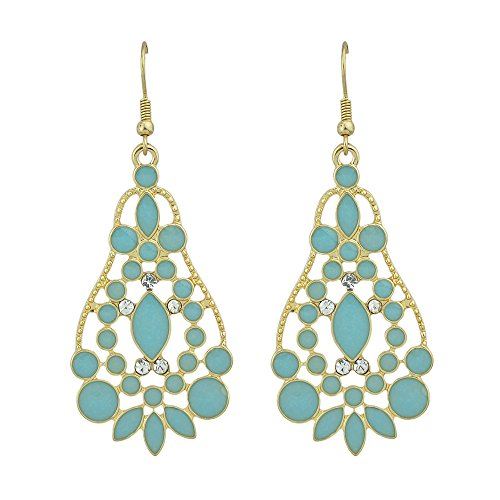 Feelontop Bijoux Chandelier Style Water Drop Imitation Gemstone Earrings for Women with Jewelry Pouch (Blue) (Enamel Chandelier Earrings)