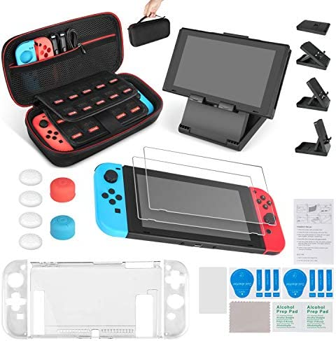 Keten 13 in 1 Accessories Kit for Nintendo Switch Including Carrying Case/Switch Clear Cover Case/Adjustable Stand/Tempered Glass Screen Protector (2 Packs)