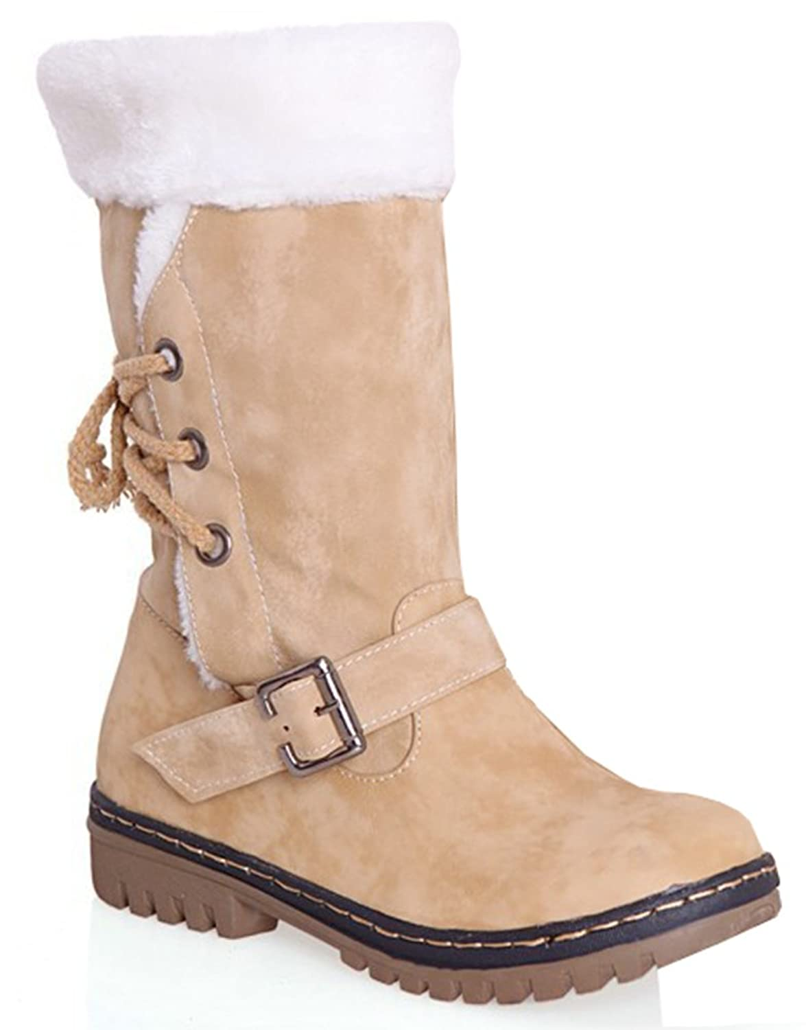 Women's Warm Buckled Lace Up Faux Fur Lined Chunky Heels Mid Calf Snow Boots