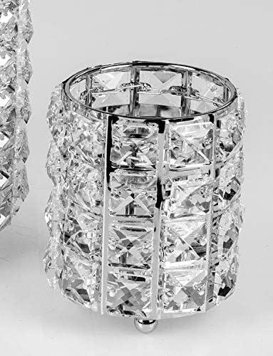 8cm silber Metall Formano Teelichthalter WILI CRYSTALS mit Glaskristallen H
