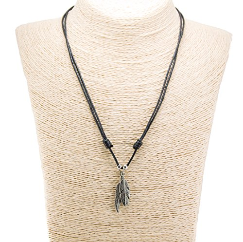 Two Metal Feather Pendants with Silver Colored Beads on Adjustable Black Rope Cord Necklace (Old Silver)