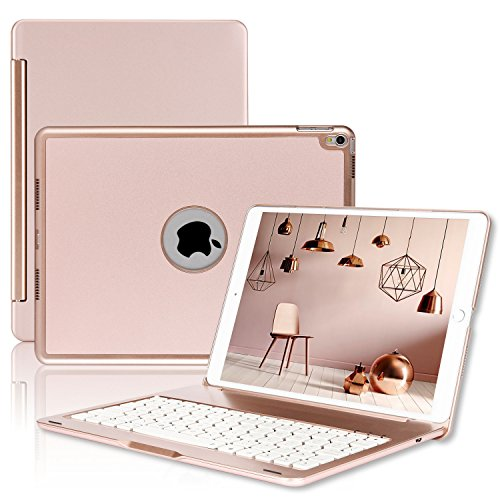 ipad Pro 10.5 Keyboard Case - ONHI Wireless Bluetooth Keyboard Case Aluminum shell Smart Folio Case with 7 Colors Back-lit - Auto Sleep Wake - Silent Typing - the Screen can be Rotated 135 °(Rose gold)