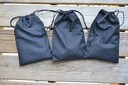 AQ textiles 12x18 COTTON DOUBLE DRAWSTRING MUSLIN BAGS Black Color 50