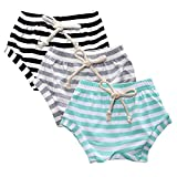 AMOUR TIME 3 Pack Toddler Baby Boys Girls Striped Shorts Little Kids Summer Bloomers (Green,Grey,Black, 2T-3T)