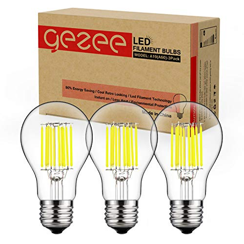 (GEZEE 10W Edison Style Vintage LED Filament Light Bulb, 100W Incandescent Replacement, Daylight White 6000K,1000LM, E26 Medium Base Lamp, A19(A60) Antique Shape, Clear Glass Cover,Dimmable(3-Pack))