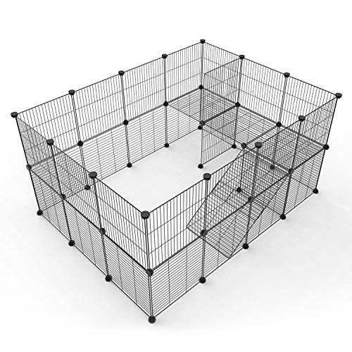 Tespo Pet Playpen, Small Animal Cage Indoor Portable Metal Wire Yard Fence for Small Animals, Guinea Pigs, Rabbits Kennel Crate Fence Tent (Black,36 Panels - Grid Floor Metals Midwest