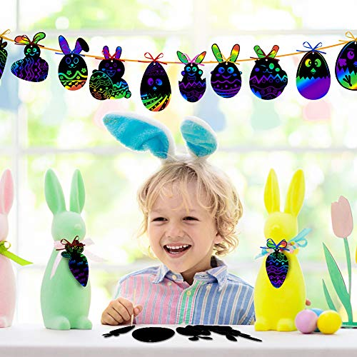 Koogel 36 Pcs Easter Egg Rainbow Art Set, Magic Rainbow Paper Easter Rainbow Scratch Paper Easter Party Favors for Easter Party Decoration Classroom Teaching