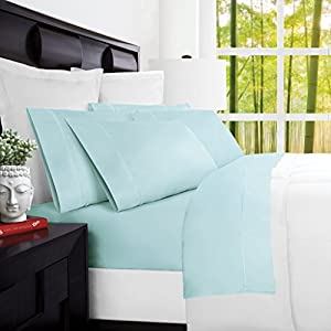 Mandarin Home Luxury 100 Percent Rayon Derived From Bamboo Bed Sheets - Eco-friendly, Hypoallergenic and Wrinkle Resistant - 4-Piece - (King, Aqua)