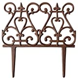 BestNest Esschert Design Scroll Garden Fence, Rust, 11'' H, Pack of 12