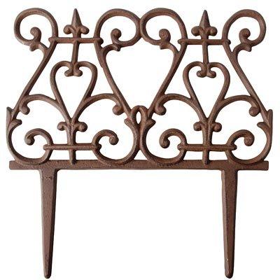 - BestNest Bulk Buy of 12 Esschert Design Scroll Garden Fence Pieces, Rust, 11
